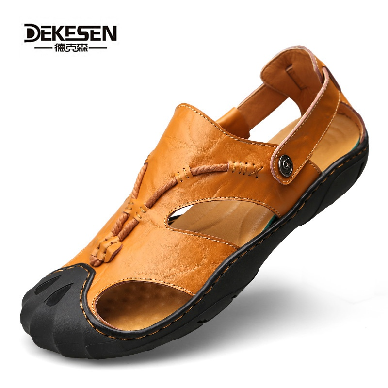 New Arrival Mens Fashion Breathable Leather Beach Sandals