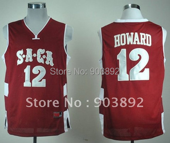 Ncaa SACA High School #12 Dwight Howard red college basketball jerseys mix order free shipping