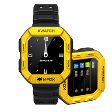 Original MFOX AWATCH – IP68 Heart Monitor Watch, Android 4.3 OS, Bluetooth 4.0, Fitness Tracking, 1.6 Inch Screen (Yellow)