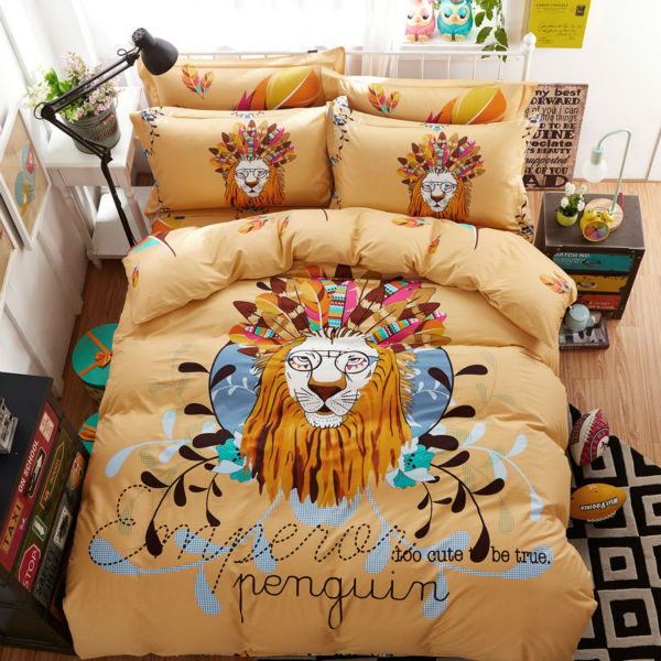 fashion style lion king pattern light tan 3/4pcs bedding sets combing cotton twin/queen size duvet cover+bedsheet+pillowcases(China (Mainland))
