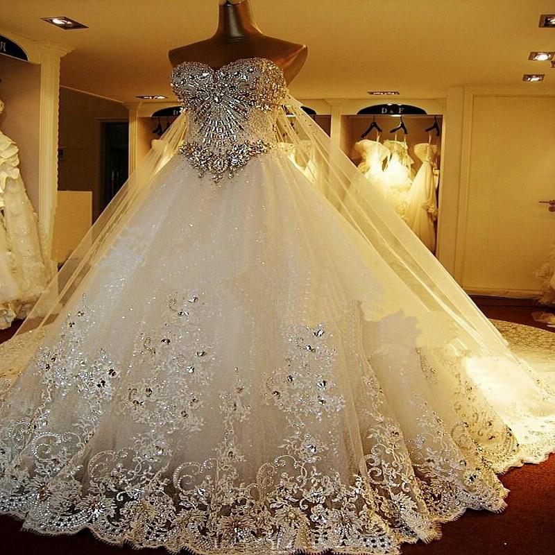 Top Luxury Wedding Dress : Top luxury wonderful long wedding dresses sweetheart