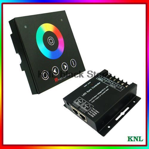 Led RGB controller with wireless RF touch screen remote, RGB controller wall-mounted touch panel switch, DC12-24V free shipping