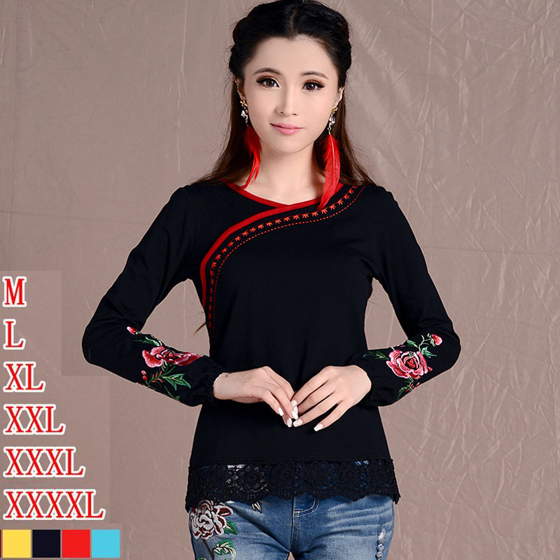 2017 Fashion long sleeve plus size clothes Women Ethnic Mexican Embroidered Cotton Peasant T-Shirts