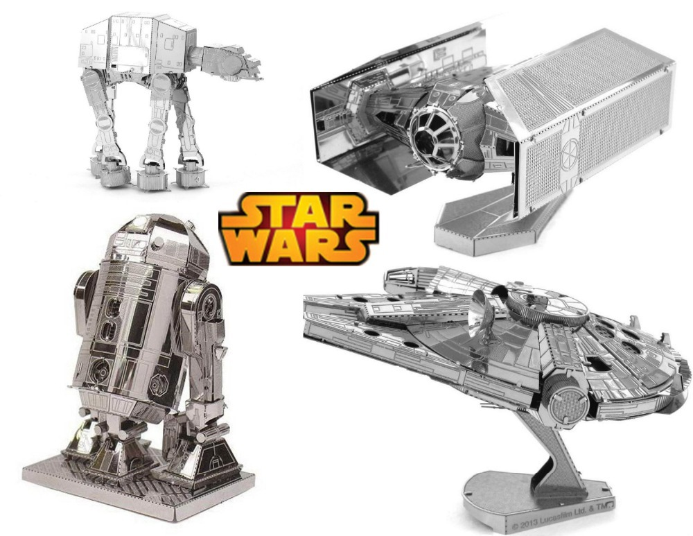 Scale Models Star Wars Model Building Kits Toys 3D DIY Metal Puzzle AT-AT WALLER Millennium Falcon TIE-Fighter Droids Free Ship(China (Mainland))