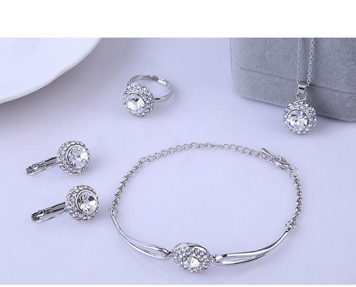 USA Top bridal Woman's 925 Silver WHITE CZ Zirconia Crystal Pendant necklace bracelet earrings ring four piece jewelry sets (A04(China (Mainland))