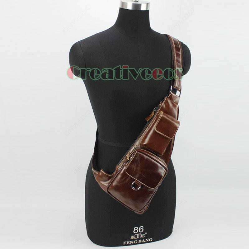 2015 New Men Genuine Leather Cowhide Vintage Travel Hiking Shoulder Cross Body Messenger Sling Pack Chest Bag(China (Mainland))
