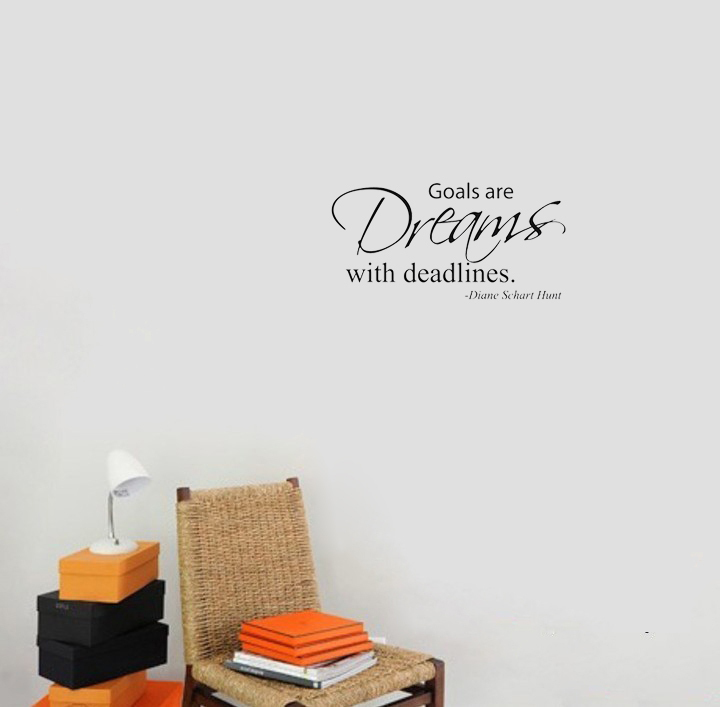 Goals are Dreams with Deadlines wall decals vinyl stickers home decor living room decoration bedroom wallpaper murals(China (Mainland))