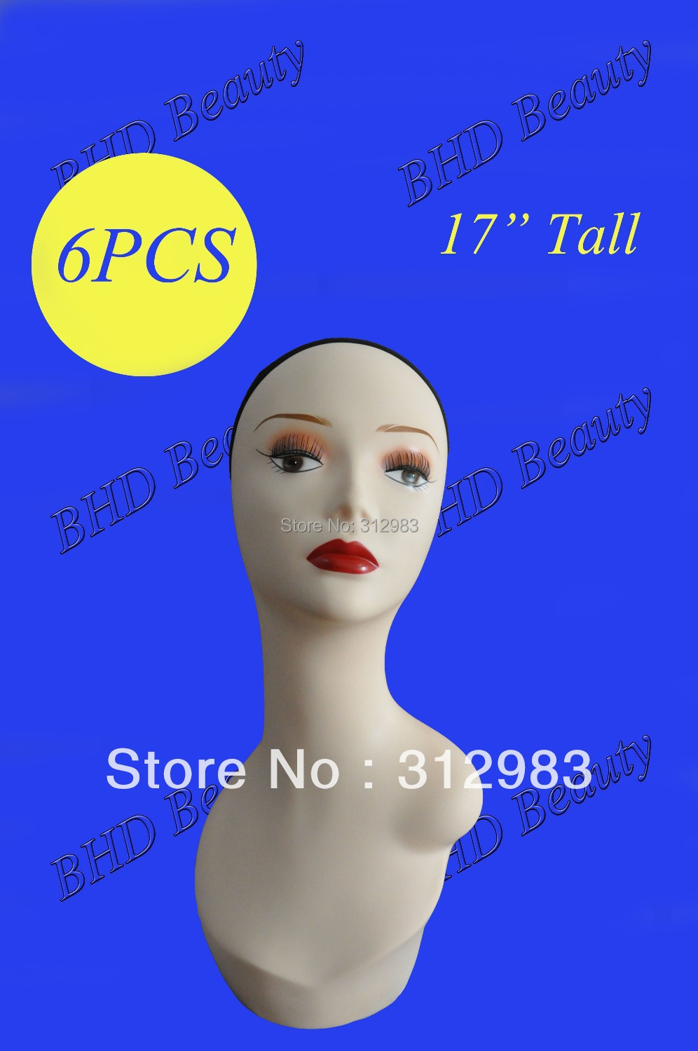"""6PCS-17"""" Tall PVC rubber mannequin manikin styrofoam head wig/weft/hair extension/cap/necklace display PZGD white color(China (Mainland))"""