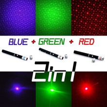 New powerful 3 Color military laser Pen Puntero Laser Pointer 5mw Caneta Laser Green/Red/Blue Violet Lazer Verde With Star Cap(China (Mainland))