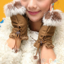 New Rabbit Fur Leather Lady Fingerless Suede Mittens Women Winter Wrist Gloves
