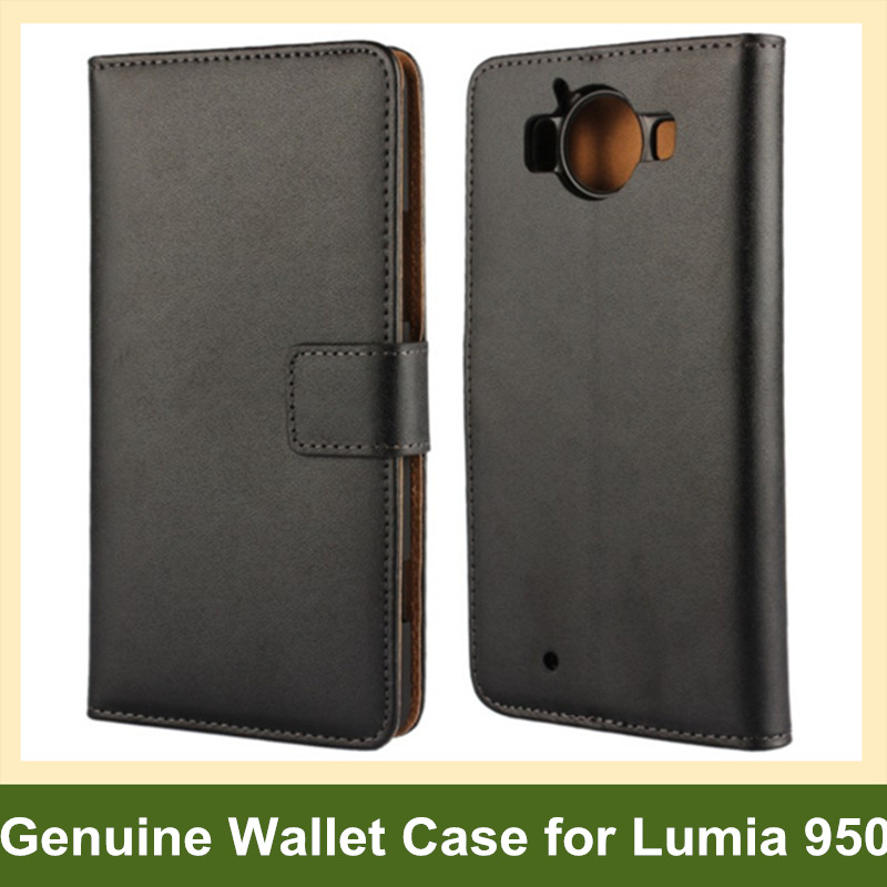 Popular Genuine Leather Wallet Flip Cover Case for Microsoft Lumia 950 with Card Slot Holder 10pcs/lot Drop Shipping
