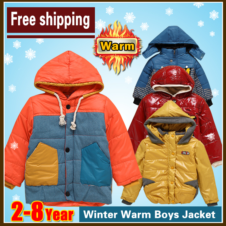free shipping 2015 2-8 years New Thick boys and girl Velvet Winter Coats Jackets Hooded Cartoon Children Outerwear(China (Mainland))