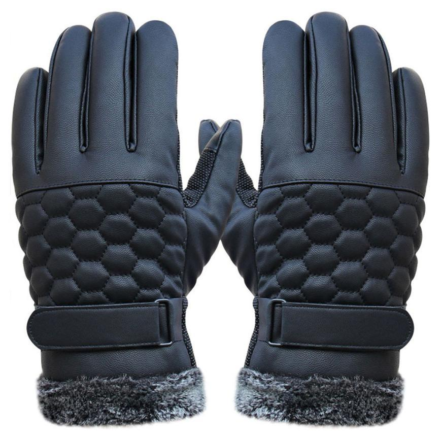 Jimshop Quality Faux Leather Touch Screen Gloves iPhones Men Classic PU Winter Motorcycle Driving Luva Gym - Store store