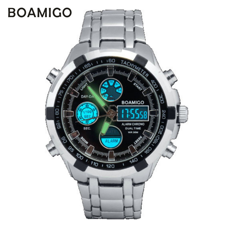watches men luxury brand military sports watches Dual Time Quartz Digital Watch LED Stainess steel band wristwatches(China (Mainland))