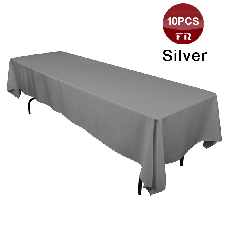 Big Discount Table Cloth for Sale 10PC Polyester Seamless Machine Washable Rectangular Tablecloth for Wedding Party Hotel Linens(China (Mainland))