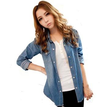 2015 весной новинка женщины жан блузка высокого класса стиральная с длинными рукавами джинсовые рубашки LL064