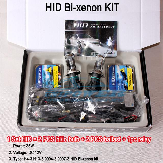 free shipping HID Bi-xenon kit H4-3/H13-3/9004-3/9007-3 35W 3000K 4300K 5000K 6000K 8000K 10000K12000 30000K high quailty
