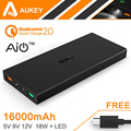 Aukey 16000mAh Quick Charge 2 0 Portable External Battery Pack 5V 9V 12V USB Dual Power