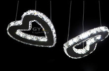 AC110-240V 32W Remote ControlLED crystal chandelier lighting pendant lamp fixture two heart shape for home living room bedroom(China (Mainland))