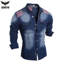 2016 Brand Men'S Denim Shirts Long Sleeve Flag Shoulder Fashion Slim Fit Style Dark Jeans Men Shirt Camisa Jeans Masculina(China (Mainland))