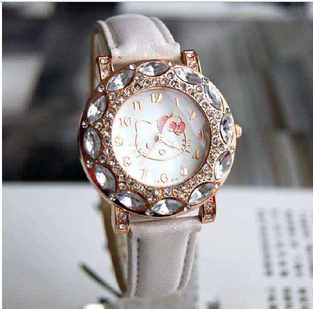 Free Shipping White Leather Band Hello Kitty Watch, New Arrival Crystal Watch Fits For Child #KITTY010-W(China (Mainland))