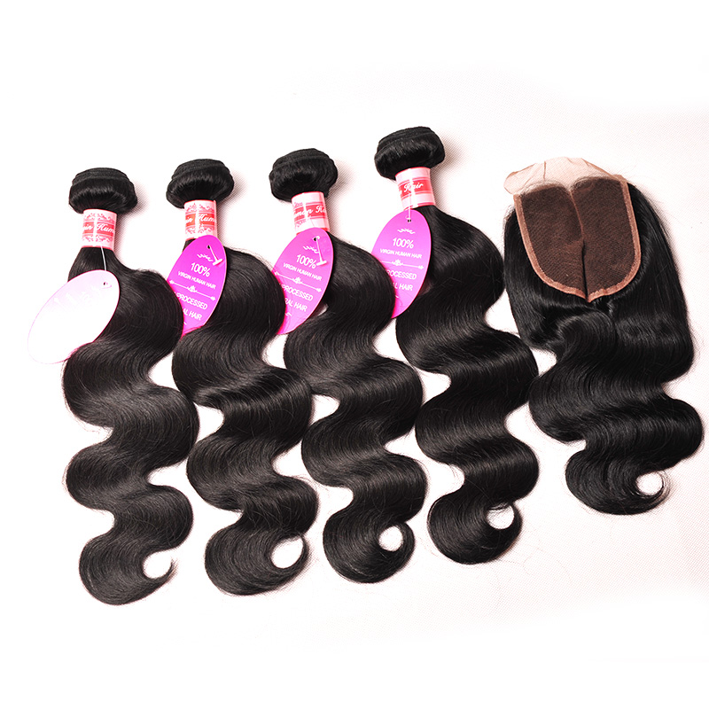 Malaysian Virgin Hair With Closure 4 Bundles With Closure Malaysian Body Wave With Closure Human Hair Weave With Lace Closure