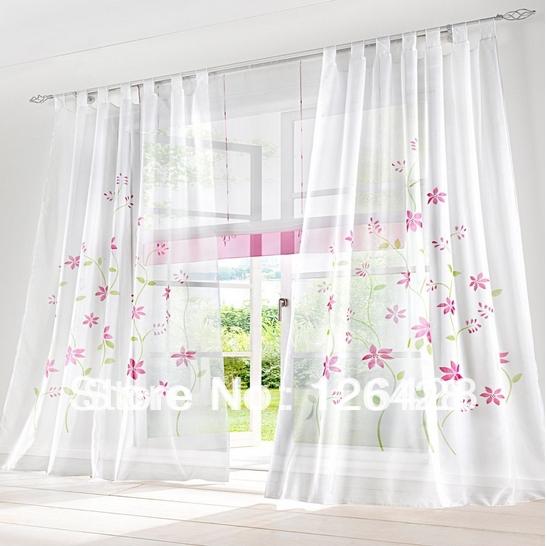 "2pcs/lot Handmade rustic fashion window screening tulle curtain (59"" * 96.5"") Floarl home curtains(China (Mainland))"