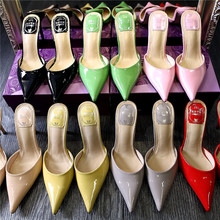 Summer Style Women High Heels Sandals 2015 Fashion Slides Pointed Pump Shoes Patent Leather Plus Size :34-40 Black Pink Red(China (Mainland))