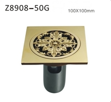 Free shipping Bathroom accessories German technology Gold-plated deodorant Brass square floor drain 100mm*100mm