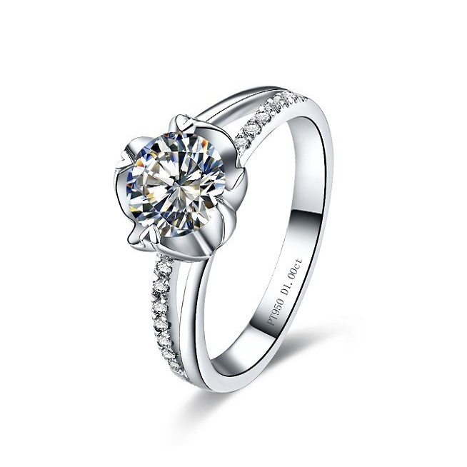 0.3CT Classic Flower Wedding Women Synthetic Diamond Ring Sterling Silver 18K White Gold Plated Bridal Jewelry  -  sara qu's store store