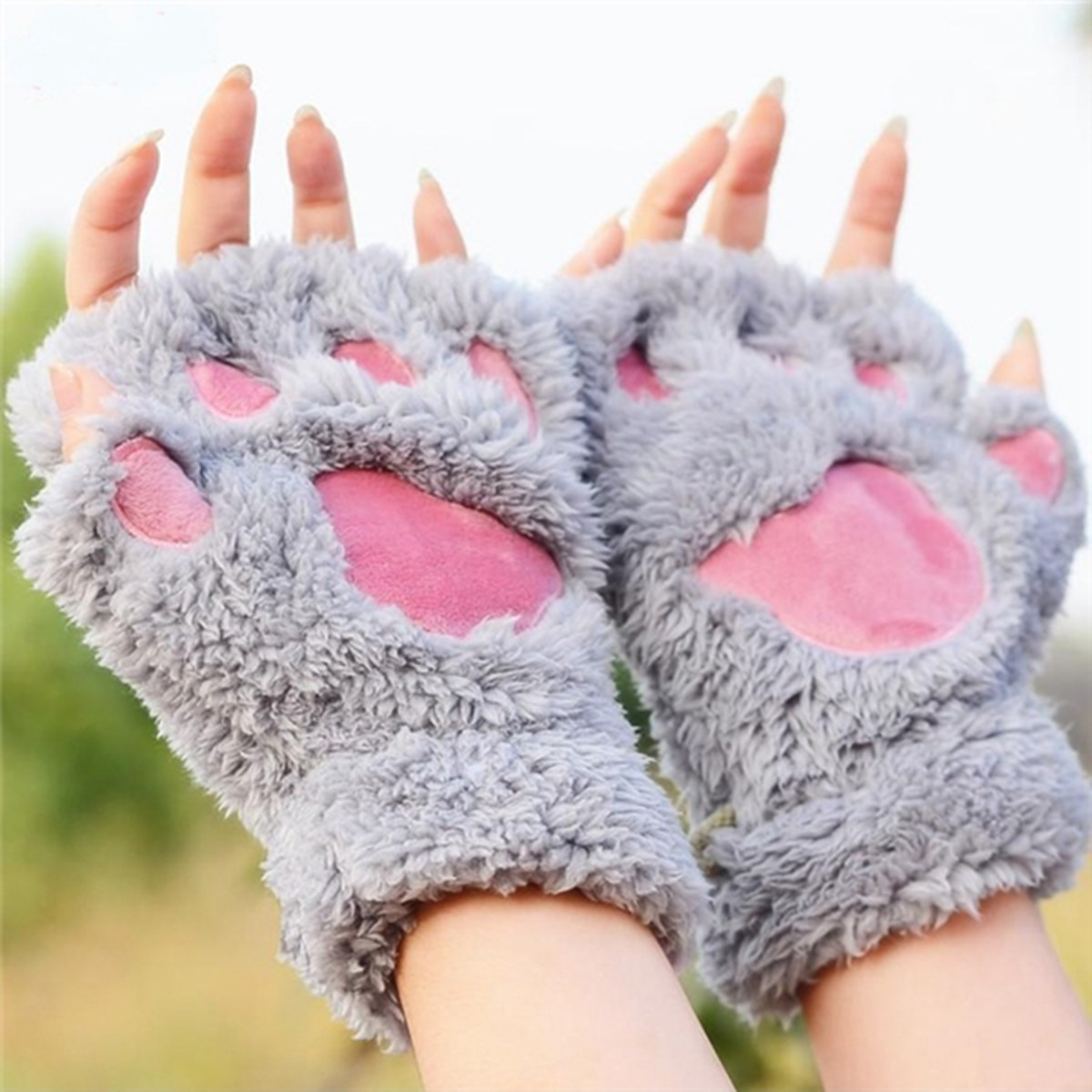 2015 Fluffy Bear Plush Paw Claw Glove Novelty Fingerless Soft Toweling Half Covered Womens Gloves Mittens Fashion Grils Winter(China (Mainland))