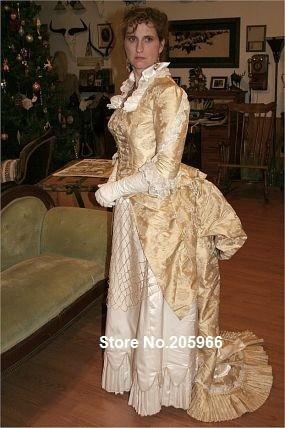 Custom Made -1882 Silk Jacquard Bustle Wedding Ball Gown/Party dress/Event Dress Ball GownОдежда и ак�е��уары<br><br><br>Aliexpress
