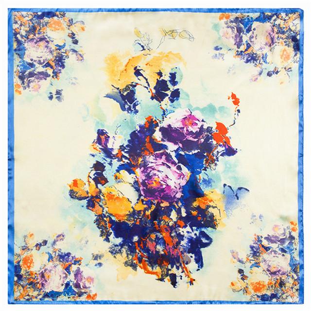 60 см * 60 см 2016 новый абстрактный цифровой цветок леди небольшой площади шелковый шарф живопись цветы