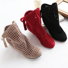 Tamaño 34-43 Cargadores de Las Mujeres del Verano Lindo Flock Planos Bajos Ocultos cuñas Sólidos recortes Botines Ladies Dress Casual Shoes 3 colores(China (Mainland))