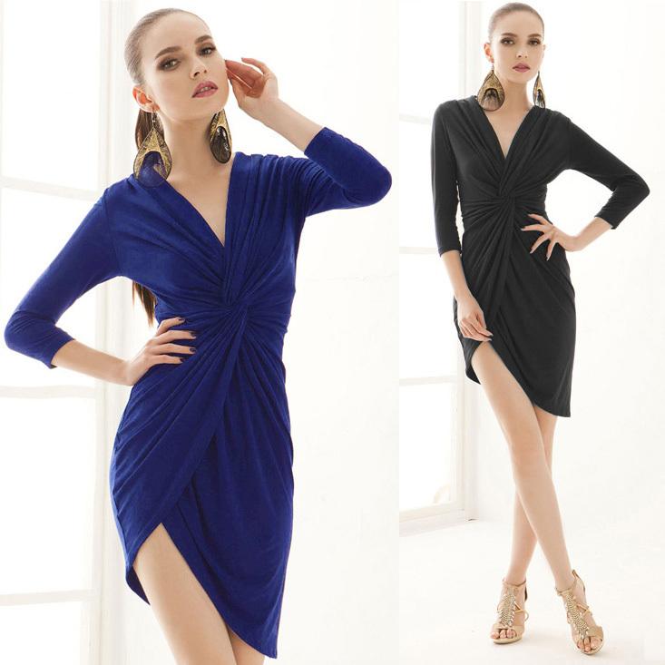 Wonderful Women Work Dress 2014 New Slim Knee Length Bodycon Short Sleeve