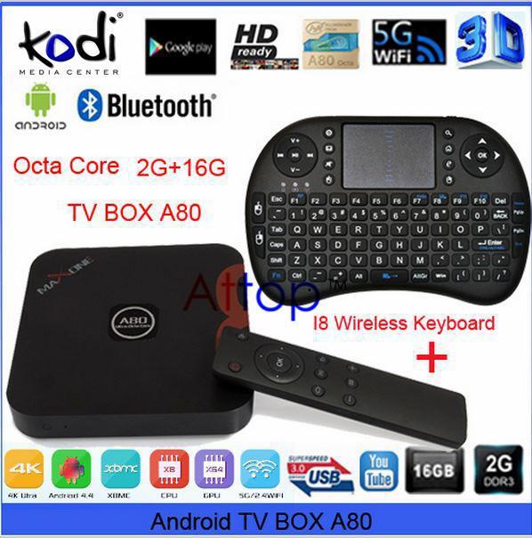 CX-X8 Android TV Box 4.4 Allwinner A80 Octa-Core Media Player 2GB 16GB HDMI Kodi 14.0 H.265 4K Dual Band Wifi + i8 Mini Keyboard(China (Mainland))