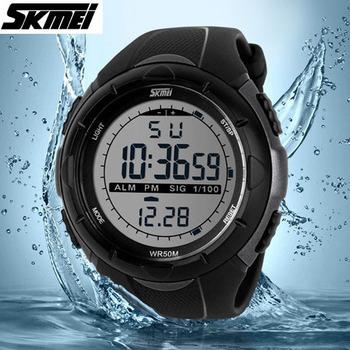 2015 новый Skmei бренд мужской из светодиодов цифровой военные часы мода спорт часы погружения плавать на открытом воздухе свободного покроя наручные часы горячая