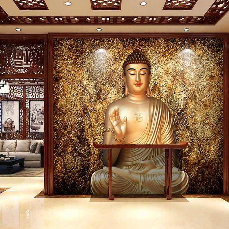 Online buy wholesale buddha wallpaper from china buddha for 3d wallpaper for living room india