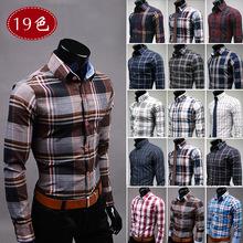 Spring/Autumn Fashion Men's Clothes Slim Fit Men Long Sleeve Plaid Shirt Casual Men Blouse Social Plus Size 3XL(China (Mainland))