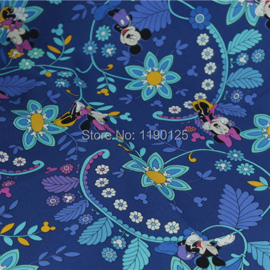 100x145cm blue children cute cartoon cloth 100 cotton for Children of the world fabric