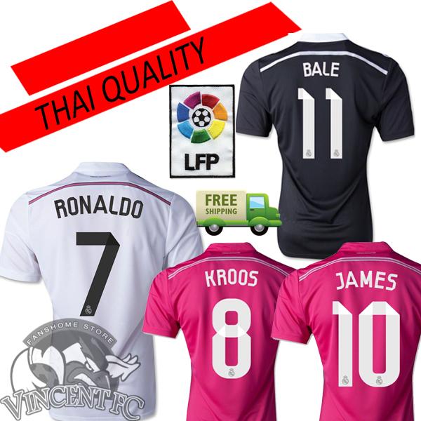 14 15 Real Madrid Jersey Soccer REAL MADRID Camisetas Futbol JAMES BALE BENZEMA KROOS 2015 Football Shirt Pink Black Dragon Thai(China (Mainland))