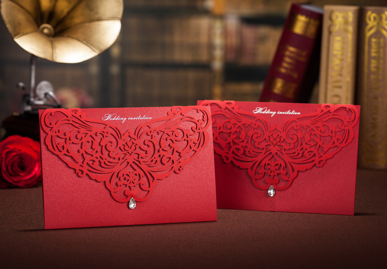5elegant Gorgeous Lace Cut-out Wedding Invitation red marriage invitation card Convite Casamento event & Party Supplies - Shine Decoration Co., Ltd. store