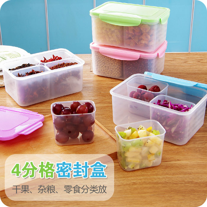 Kitchen 4 Grid Storage Box Plastic Seal Refrigerator Food Crisper Large Cereals Storage Box Mason Jar Container(China (Mainland))