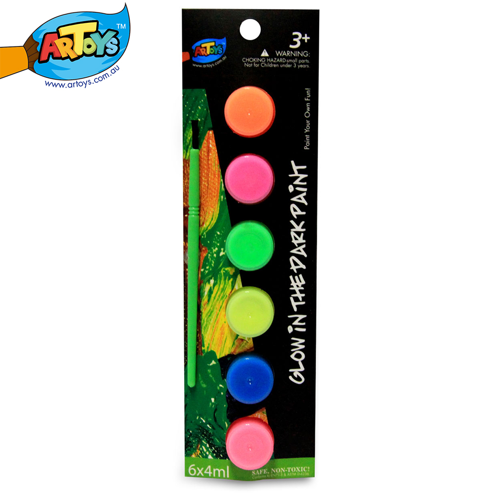 Artoys art watercolor glow in the dark paint 6 color high - Glow in the dark paint colors ...