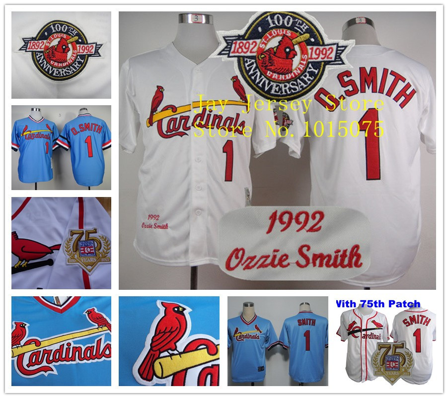 Ozzie Smith Jersey 1992 Retro Baby Blue White 75th Patch Jerseys(China (Mainland))