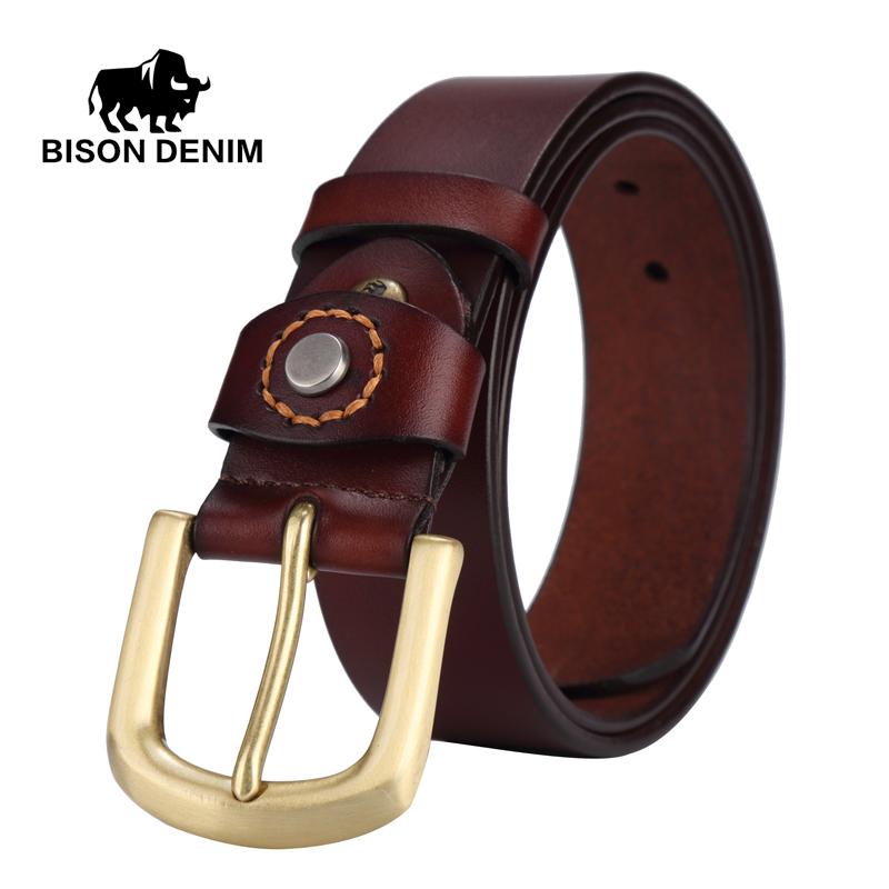 BISON DENIM men luxury belts 2016 100% top Cowboy Genuine Leather belts for men gold Pin Buckle punk rock belts for girls W71020(China (Mainland))