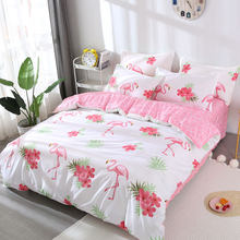 Pink Flamingo 4pcs Kid Bed Cover Set Cartoon Duvet Cover Adult Child Bed Sheets And Pillowcases Comforter Bedding Set 2TJ-61003(China)