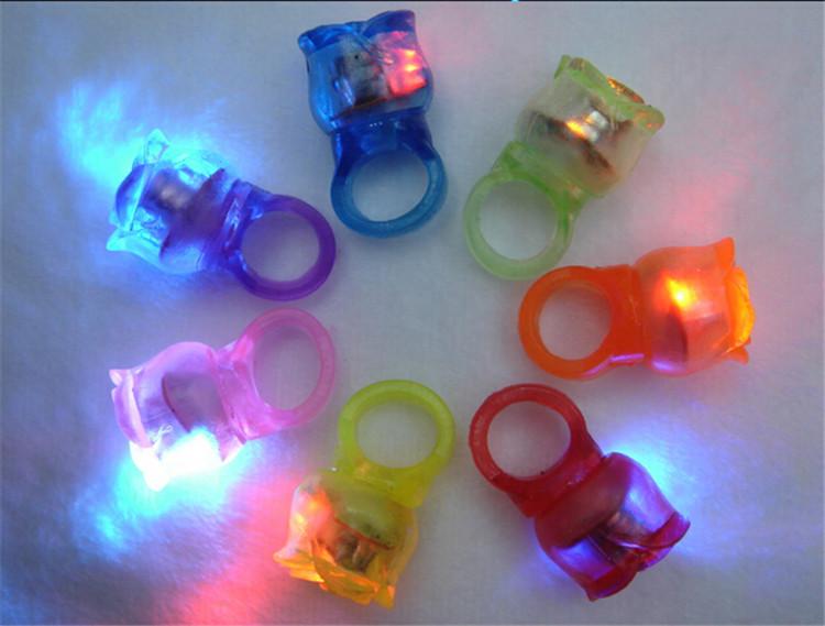 50pcs/lot Luminescent roseshape ring,silica gel soft finger ring lights, led finger ring toys party wedding birthday decoration(China (Mainland))