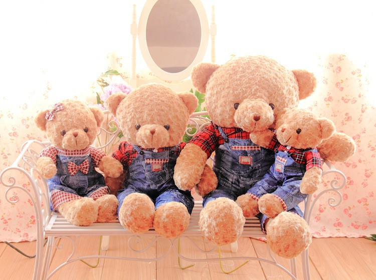 New arrival hot sale retail 70cm highquality lovely stuffed plush giant teddy bear wearing jeans toys for children(China (Mainland))
