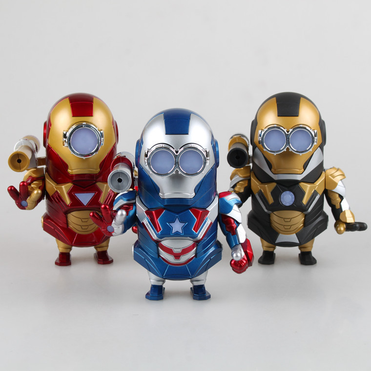 Anime Cartoon Despicable me Minion Cosplay Iron Man 2 PVC Action Figure Collectible Model Toy 15cm 3 Styles can light Brinquedos<br><br>Aliexpress